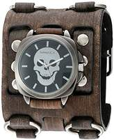 Nemesis 'Skull Head Series' Quartz Stainless Steel and Leather Watch, Color:Black (Model: FWB935K)