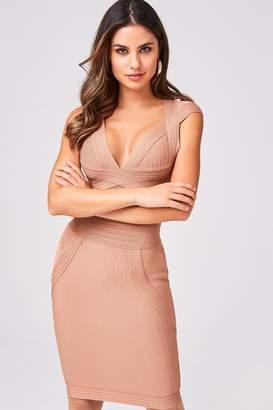 Gabriela Nude Bandage Bodycon Dress