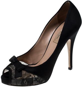 Valentino Black Lace And Satin Bow Peep Toe Platform Pumps Size 37.5