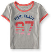 Aeropostale Womens West Coast Ringer Crop Baby Tee Shirt
