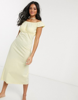 ASOS DESIGN off shoulder midi sundress with pep hem in lemon