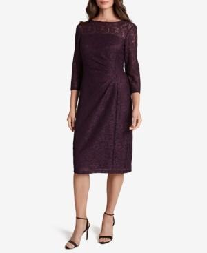 Tahari ASL Side-Ruched Lace Dress