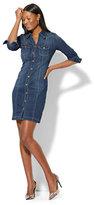 New York & Co. Stretchy Denim Shirtdress - Polished Blue Wash