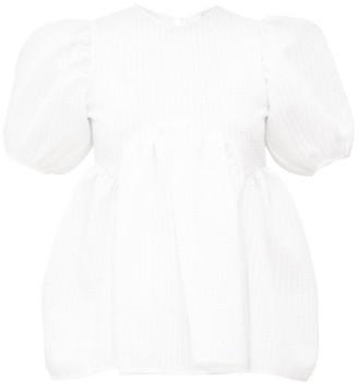 Cecilie Bahnsen Kastanje Puff-sleeved Seersucker Blouse - White