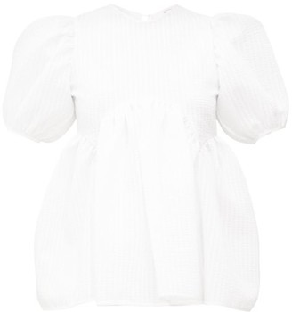 Cecilie Bahnsen Kastanje Puff-sleeved Seersucker Blouse - Womens - White