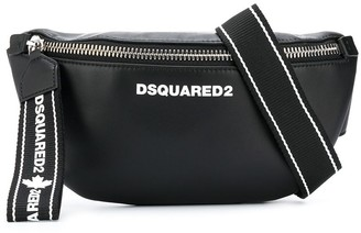 DSQUARED2 Logo Leather Belt Bag With Statement Zip