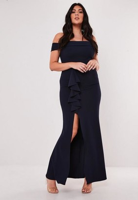 Missguided Size Bridesmaid Navy Bardot Frill Maxi Dress