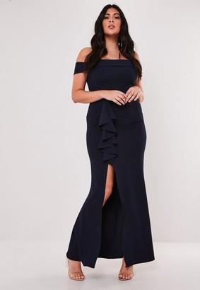 Missguided Size Bridesmaid Navy Bardot Frill Maxi Dress