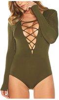 Jelinda® Womens Long Sleeve Deep V Lace-up Jumpsuit Bodysuit