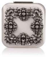 Manolo Blahnik Hangi silver crystal silk clutch