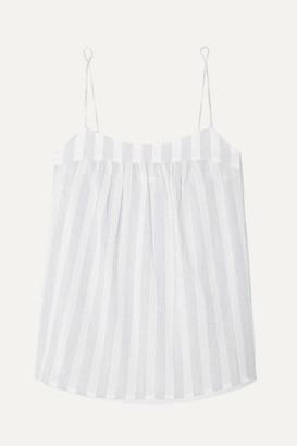 Skin Isabella Striped Cotton-gauze Pajama Top - White