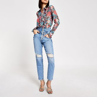 River Island Blue high rise corset waist ripped jeans