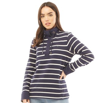 Crew Clothing Womens Toogle Stripe Jumper Navy/White