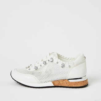 River Island White mesh gem runner trainers