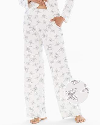 Cool Nights Pajama Pants Happy Butterfly Ivory