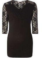 Dorothy Perkins Womens **Maternity Black Lace Ruched Wrap Top- Black