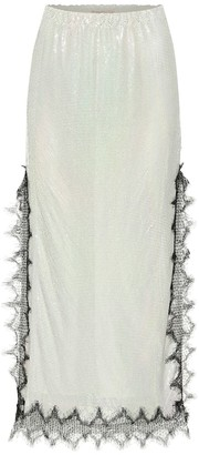 Christopher Kane Lace-trimmed metallic midi skirt