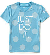 Nike Big Girls 7-16 Dotted Just Do It V-Neck Tee