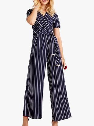 Yumi Wrap Stripe Jumpsuit, Navy