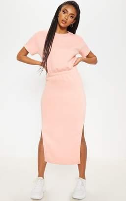PrettyLittleThing Peach Elastic Waist Sweater Midi Dress