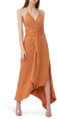 Significant Other Elusive Asymmetrical Halter Midi Dress