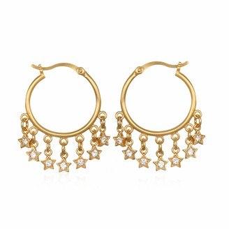 Satya Jewelry Women's White Topaz Gold Star Hoop Earrings One Size
