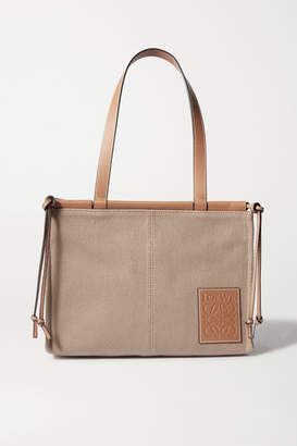 Loewe Cushion Small Leather-trimmed Canvas Tote - Taupe