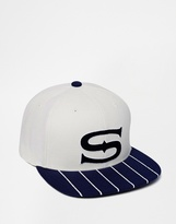 Stussy Pinstripe Snapback Cap - White