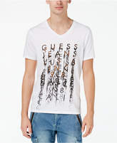 GUESS Men's Blurred Logo-Print V-Neck T-Shirt