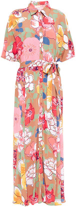 By Ti Mo Belted Floral-print Crepe Maxi Dress