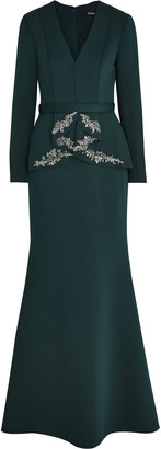 Badgley Mischka Embellished Scuba Peplum Gown