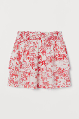 H&M Tiered Cotton Skirt - Red