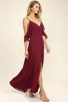 LuLu*s You Found Me Wine Red Maxi Dress