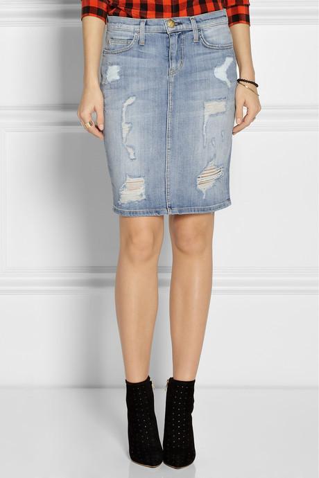 Current/Elliott The Stiletto distressed stretch-denim pencil skirt