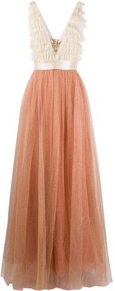 Elisabetta Franchi Ruffle-Trimmed Tulle Gown