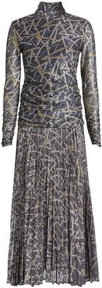 Victoria Victoria Beckham Lurex Pleated Turtleneck Dress