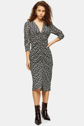 Topshop Womens Petite Idol Mix Fabric V Neck Ruched Midi Dress - Monochrome