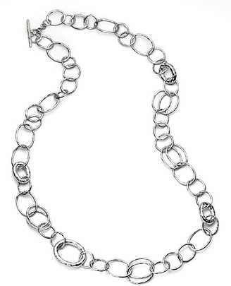 Ippolita Classico Long Sterling Silver Hammered Bastille Link Chain Necklace
