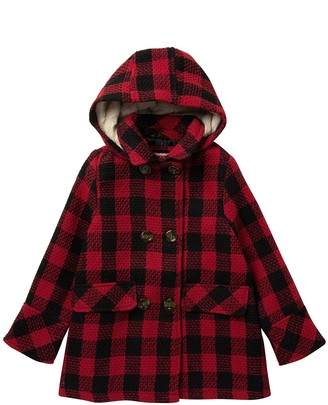 Urban Republic Double Breasted Plaid Coat with Faux Fur Lined Hood (Big Girls)