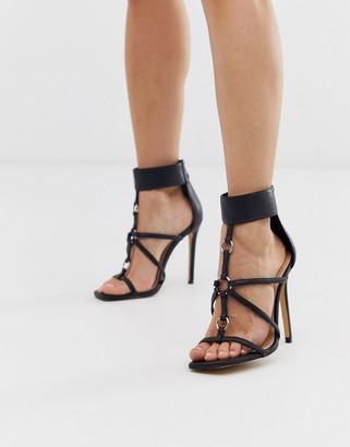 Public Desire Selena black square toe eyelet detail sandals