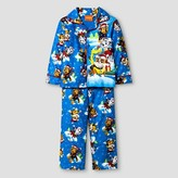 Toddler Boys' Paw Patrol Button Up Long Sleeve 2-Piece Pajama Set Blue
