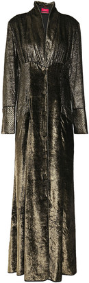 F.R.S For Restless Sleepers Dedalo Gathered Metallic Velvet Maxi Dress