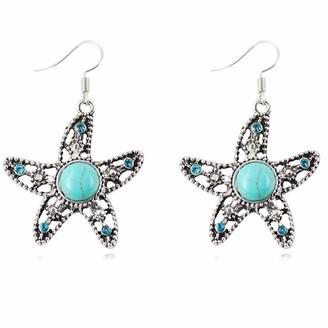 YONGHUI Retro Boho Turquoise Starfish Dangle Drop Earrings For Women Ladies Girls Summer Beach Earring Jewellery (Style C)