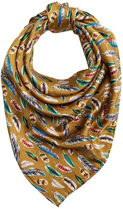 M&F Western Wild Rags Silk Large Patterned Scarf Bandana (Gold Feather) Scarves