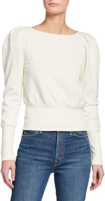 AG Jeans Walker Puff-Sleeve Boat-Neck Sweater