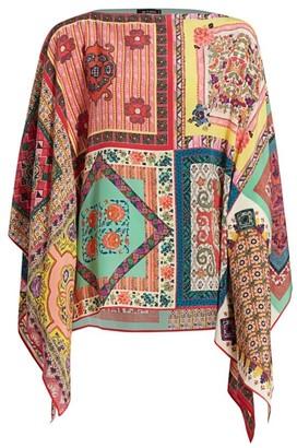 Etro Mosaic Tile Silk Poncho