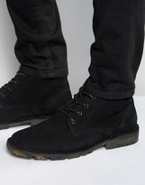 Asos Chukka Boots in Black Suede With Camo Sole
