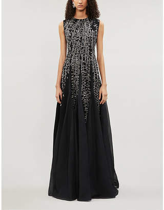 Givenchy Embroidered sleeveless wool-crepe gown
