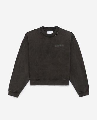 The Kooples Faded black sweatshirt with print & piercing
