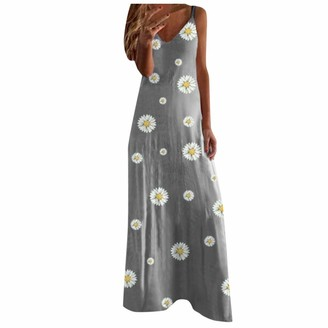 Buyao Plus Size Dresses for Women Casual Summer Maxi Long Dress Sexy Spaghetti Strap Floral Printed Loose Tank Dress Gray
